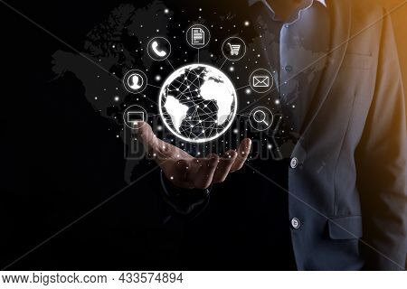 Business Man Hiold, Use,press Infographic Icon Of Community Technology Digital.concept Of Hi Tech An