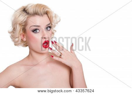 Suprised Retro Blond Beauty  - Isolated On White