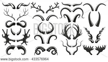 Hunting Wild Animals, Deer, Goat Horns Antlers Silhouettes. Moose, Deer, Ram, Goat, Bison Horns Blac
