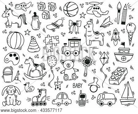 Doodle Cute Kids Toys Hand Drawn Elements. Kindergarten Funny Children Toys, Ball, Doll, Bear And To