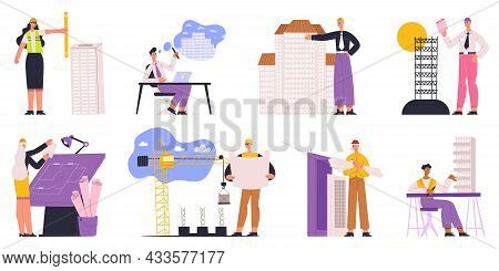 Architects, Engineers, Builders And Construction Workers Characters. Professional Builder, Architect