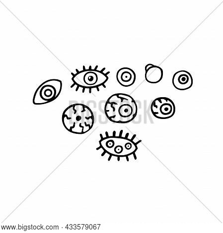 Doodle Scary Eyes Set. Hand-drawn Crazy Monster Elements. Outline Eyeball With A Pupil, Eyelashes, V