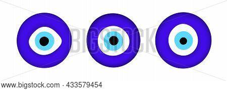 Blue Oriental Evil Eye Symbol Amulet Flat Style Design Vector Illustration Isolated On White Backgro