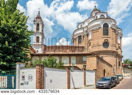 Bra, Italy - June 27,2021 - View At The Church Of Santa Chiara In Bra. Bra Is A Town And Comune In T