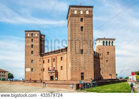 Fossano, Italy - June 27,2021 - View At The Fossano Castle. Fossano Is A Town And Comune Of Piedmont