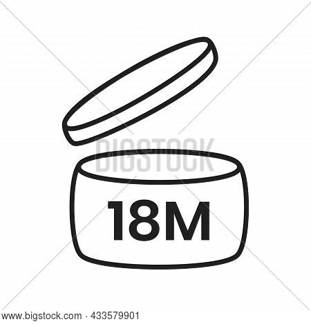 18m Period After Open Pao Icon Sign Flat Style Design Vector Illustration Isolated On White Backgrou