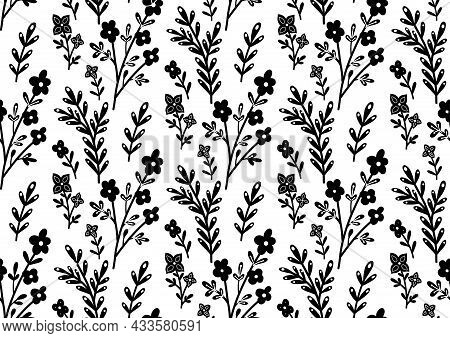 Seamless Monochrome Pattern With Black Flowers And Branches On A White Background. Silhouettes Of St