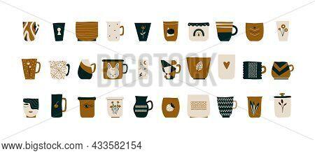 Fashionable Ceramic Cups. Scandinavian-style Tea, Coffee Mugs. Side View Modern Floral Geometric Pat