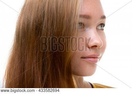 Closeup three quarters portrait of a blond woman