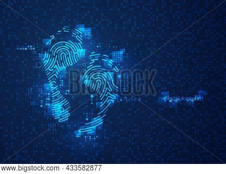 Concept Of Digital Footprint, Graphic Of Footprint Shape Combined With Futuristic Pattern And Digita