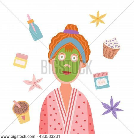 Funny Girl In A Bathrobe With Green Cosmetic Mask On Her Face. Cartoon Character With Cosmetic Items