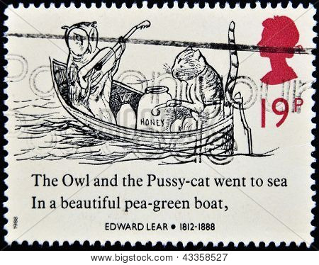 stamp printed in the Great Britain shows The Owl and the Pussycat in a Boat Drawing by Edward Lear