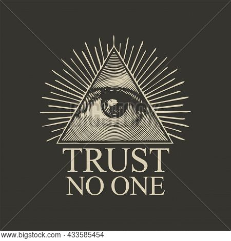 Vector Icon Of The Masonic Symbol Of The All-seeing Eye Of God. The Eye Of Providence In A Triangula