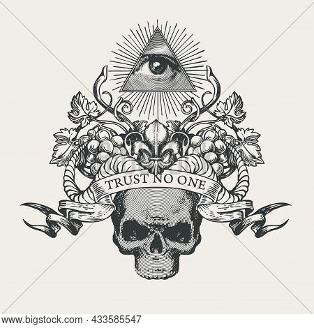 Vector Coat Of Arms With Masonic Symbol Of All-seeing Eye Of God, Fleur De Lis, Grapes, Rams Horns,