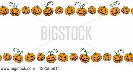 Background, Frame For Halloween. Horizontal Top And Bottom Edging, Border Of Festive Elements And Ch