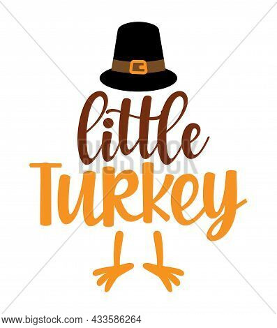 Mommy's Little Turkey - Baby Clothes Calligraphy Label. Isolated On White Background. Hand Drawn Let