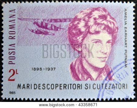 stamp printed in romania shows Amelia Earhart Putnam