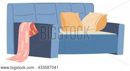 Comfortable Sofa With Pillows And Blanket Vector