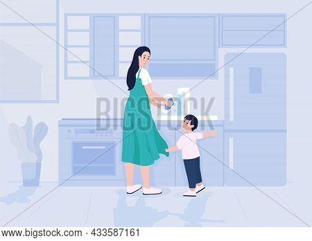 Child Distracts Mother Flat Color Vector Illustration. Mom Busy Doing Housework. Toddler Demands Att