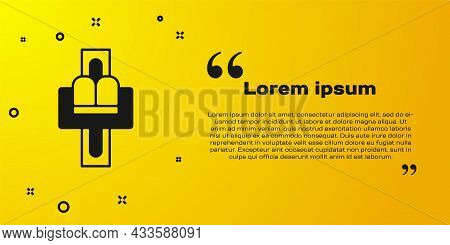 Black Attraction Carousel Icon Isolated On Yellow Background. Amusement Park. Childrens Entertainmen