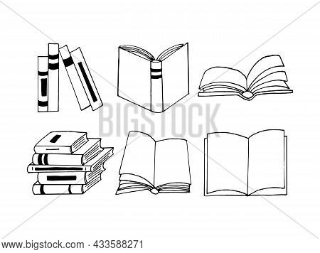 Books Set Icon. Sketch Hand Drawn Doodle Style. Vector, Minimalism, Monochrome. Library, Learning Re