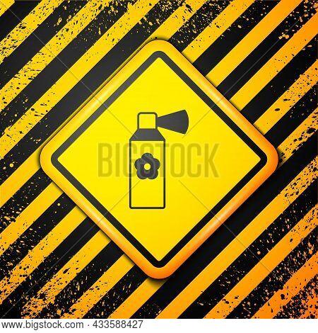 Black Air Freshener Spray Bottle Icon Isolated On Yellow Background. Air Freshener Aerosol Bottle. W