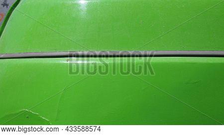 Rear Fender Of Of Retro Car Close-up, Greece, Syros Island, Ermoupoli