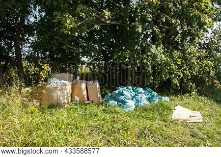 Unauthorized Garbage Dump In The Forest On Sunny Autumn Day