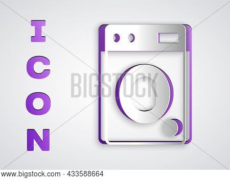 Paper Cut Washer Icon Isolated On Grey Background. Washing Machine Icon. Clothes Washer - Laundry Ma