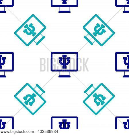 Blue Online Psychological Counseling Distance Icon Isolated Seamless Pattern On White Background. Ps