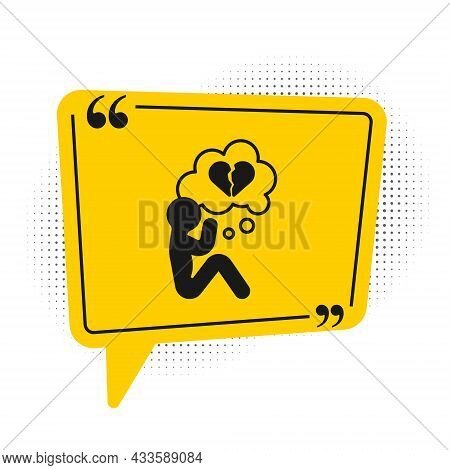 Black Broken Heart Or Divorce Icon Isolated On White Background. Love Symbol. Valentines Day. Yellow
