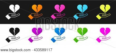 Set Broken Heart Or Divorce Icon Isolated On Black And White Background. Love Symbol. Valentines Day
