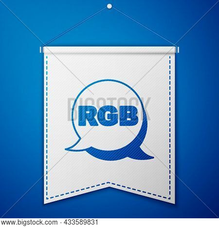 Blue Speech Bubble With Rgb And Cmyk Color Mixing Icon Isolated On Blue Background. White Pennant Te
