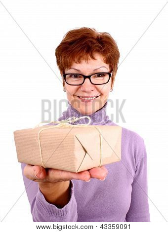 Happy Mature Woman With Surprise, Isoliert