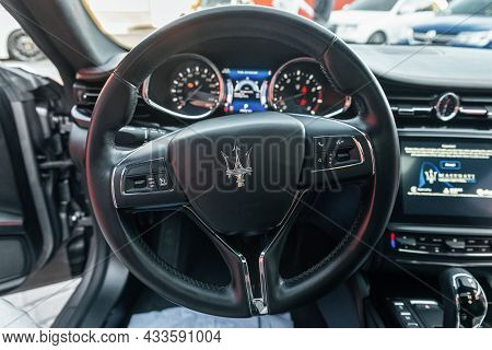 Ukraine, Odessa September 8 - 2021: Interior Of Modern Business Class Sedan Car Maserati Ghibli. Coc