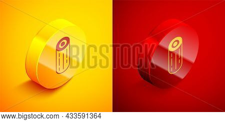 Isometric Wooden Logs Icon Isolated On Orange And Red Background. Stack Of Firewood. Circle Button.