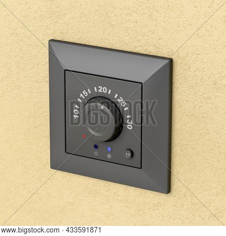 Black Analog Thermostat On The Wall, 3d Illustration