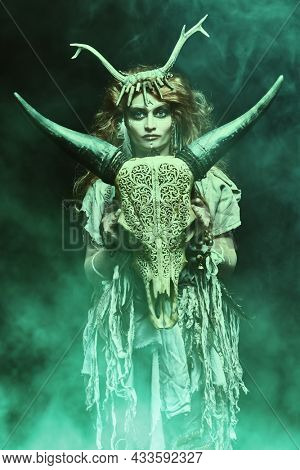 Female shaman in ethnic dress and deer antlers headdress surrounded by fog holds a ritual staff and holds out her hand forward. Fantasy concept, magic. Paganism. Halloween.