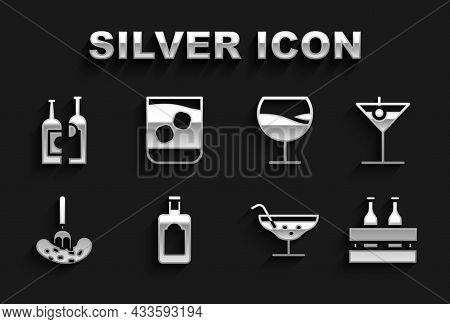 Set Whiskey Bottle, Martini Glass, Pack Of Beer Bottles, Cocktail, Pickled Cucumber On Fork, Wine, B