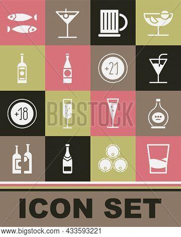 Set Glass Of Vodka, Bottle Cognac Or Brandy, Cocktail, Wooden Beer Mug, Beer Bottle, Dried Fish And