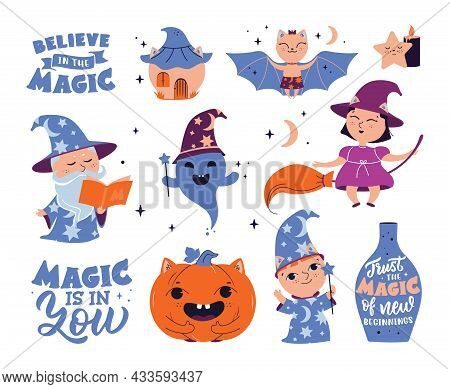 The Set Of Magic Stickers With Text. The Cartoon Ghost, Wizard, Witch, Pumpkin, Bat, House, Star. Th