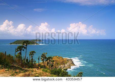 Phromthep Cape Viewpoint With Blue Sky Phuket,thailand