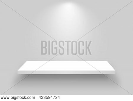 White Shelf Mockup. Realistic Bookshelf With Spotlight. Empty Shelf Template On White Backdrop. Clea