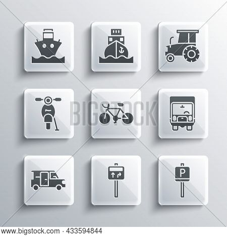 Set Road Traffic Signpost, Parking, Delivery Cargo Truck, Bicycle, Minibus, Scooter, Cargo Ship And