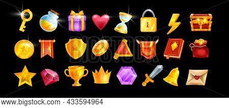 Game Icon Ui Set, Vector User Casino Interface Badge Kit, Golden Reward Element, Crown, Award Shield