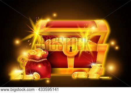 Gold Chest Treasure Illustration, Vector Red Pirate Open Box, Coin Pile, Money Bag, Game Success Ico