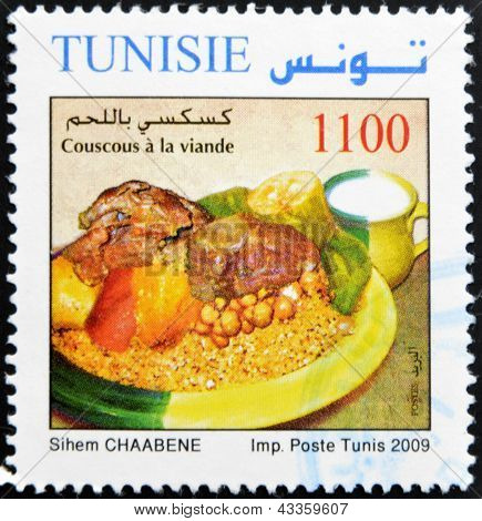 stamp printed in Tunisia shows couscous