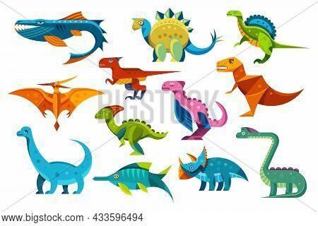 Dinosaurs And Dino Reptiles, Jurassic T-rex Triceratops, Pterodactyl And Brontosaurus, Vector Cartoo