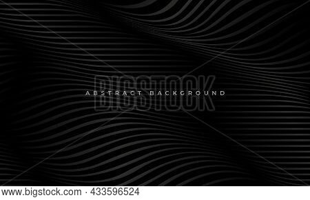 Striped Black Wave Lines Modern Luxury Pattern Corporate Concept Background. Abstract Black Line Wav