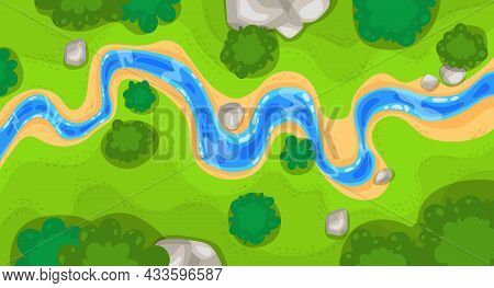 River Top View Landscape Above Forest Or Aerial Map, Vector Background. Park Or Valley With River Wa